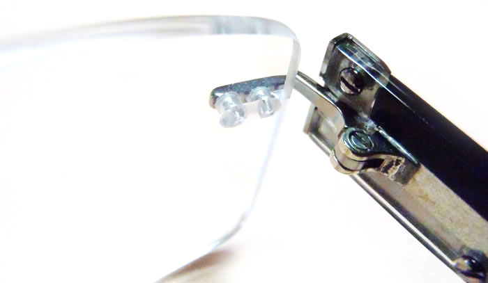 Frameless Eyeglasses with Plastic Caps on Temple
