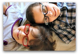 eyeglass frames on childrens face