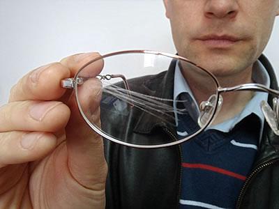 Scratched Eyeglass Lens