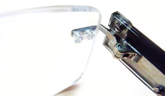 Frameless Eyeglasses with Plastic Caps on Temple