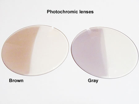 half colored photochromic lenses brown and gray